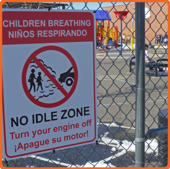 children breathing school sign