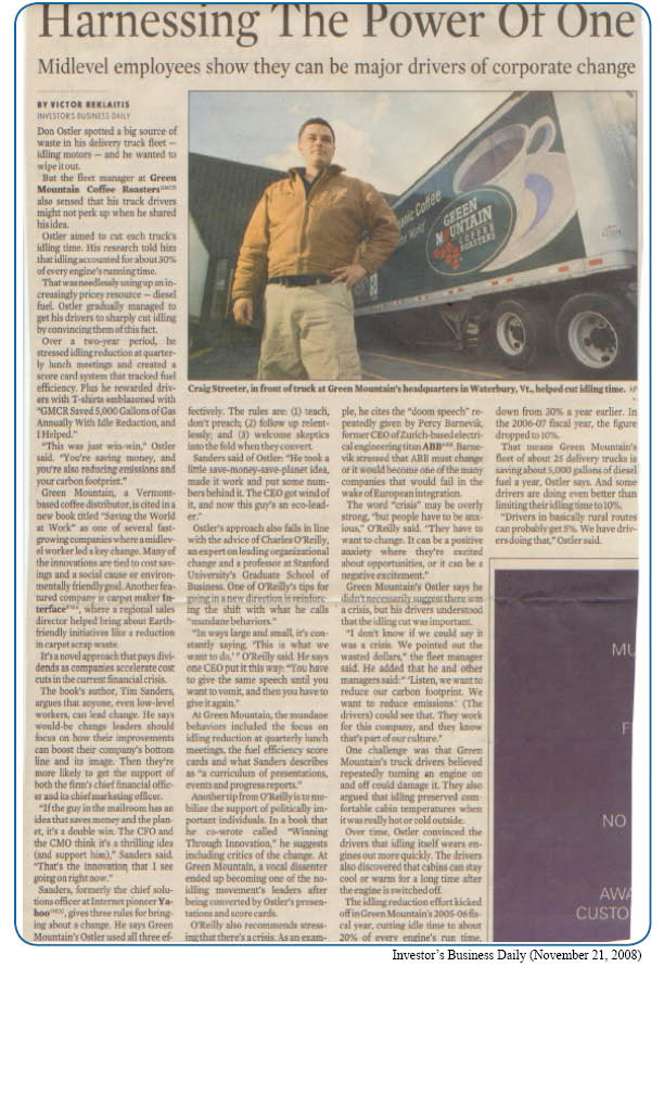 Green Mountain Coffee Roasters Newspaper Article